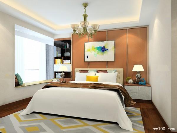 卧室装修效果图 21㎡飘窗上设计双列储物柜图片
